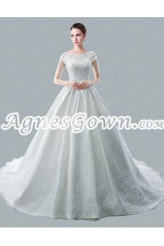 Breathtaking Bateau Neckline Short Sleeves Wedding Dresses