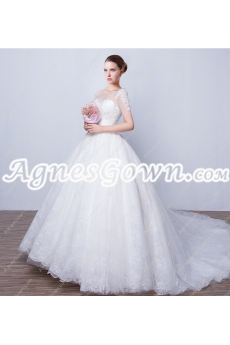 Breathtaking Scoop Neckline Ball Gown Lace Wedding Dress Corset Back