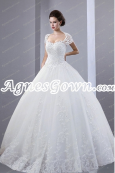 Cap Sleeves Keyhole Back Ball Gown Wedding Dress With Lace
