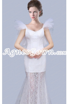 Chic Scoop Neckline Sheath Sheer Lace Beach Wedding Dress