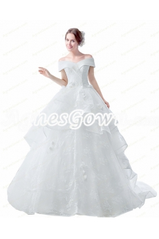 Corset Back Off Shoulder Ball Gown Wedding Dress With Lace Decoration