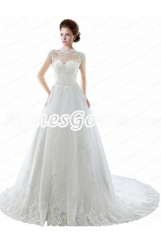 High Collar Cap Sleeves Lace Wedding Dress With Beads