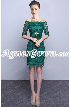 Knee Length Half Sleeves Dark Green Lace Mother Of The Bride Dress