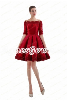 Off Shoulder Half Sleeves Short Red Homecoming Dress