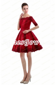 Off Shoulder Half Sleeves Short Red Homecoming Dress