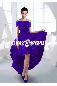 Stylish Off Shoulder High Low Prom Dress