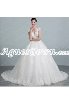 V-Neckline Cap Sleeves Ball Gown Wedding Dress With Illusion Bodice