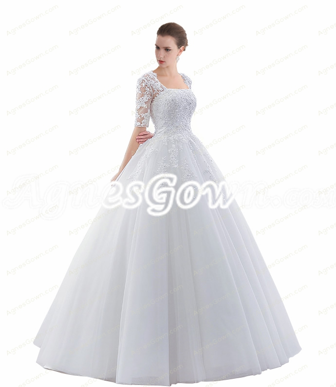 1/2 Lace Sleeves Ball Gown Wedding Dresses