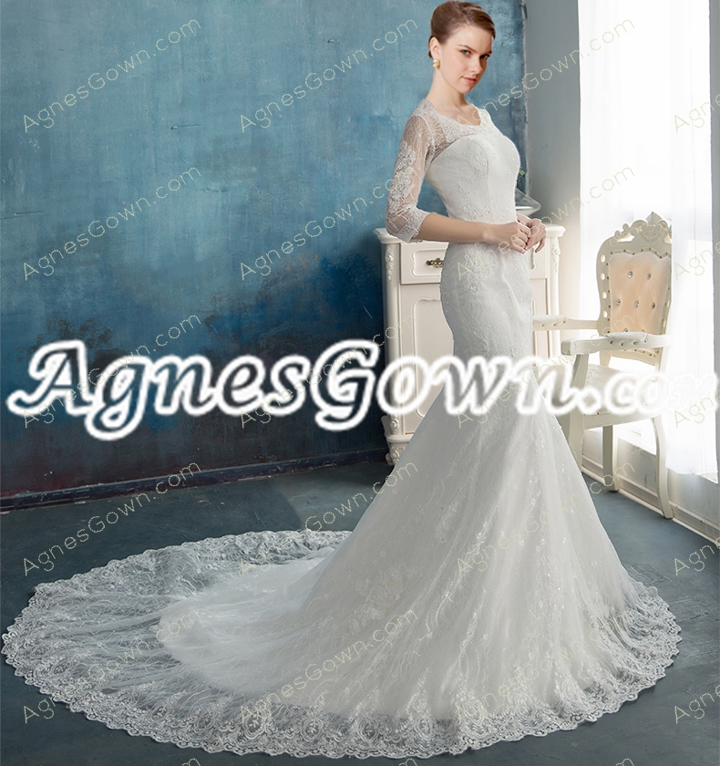 3/4 Sleeves Scoop Neckline Trumpet/Mermaid Lace Wedding Dress