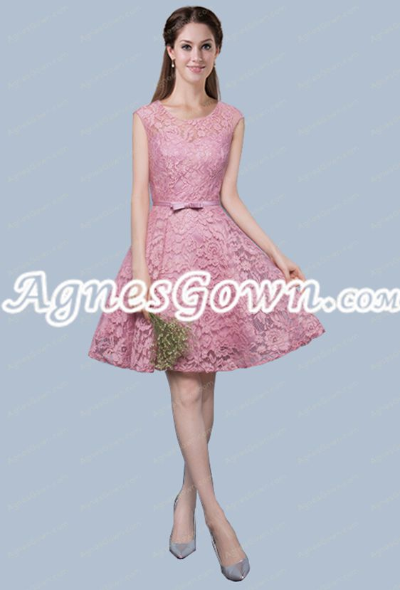 Beautiful A-line Pink Lace Homecoming Dress