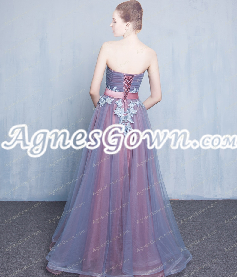 Beautiful Blue And Dusty Rose Organza Prom Gown Dresses