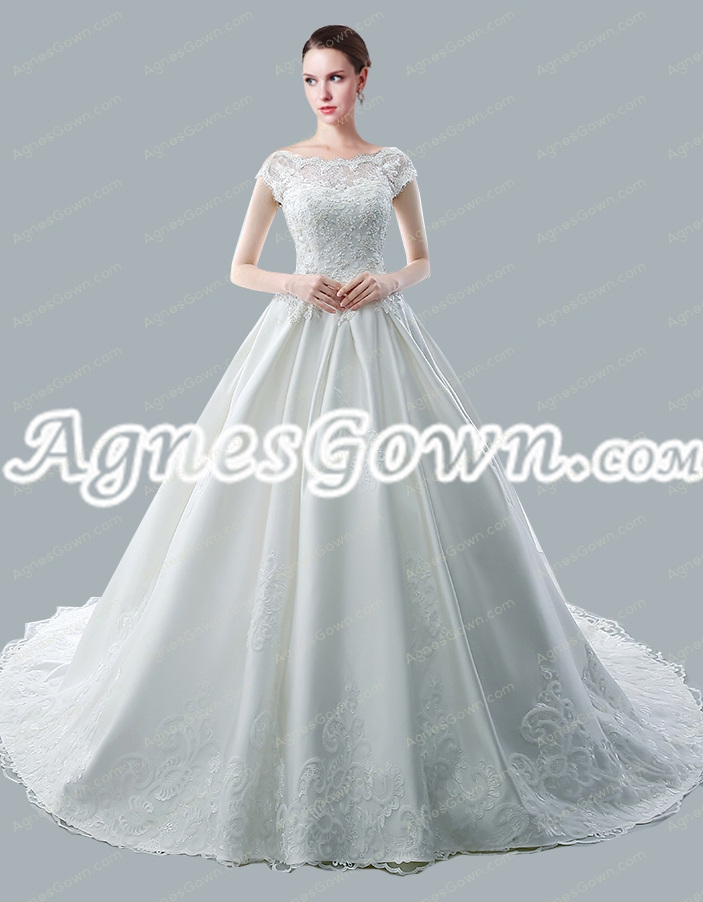 Breathtaking Bateau Neckline Short Sleeves Wedding Dresses