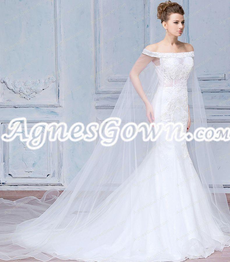 Breathtaking Off Shoulder Lace Mermaid Wedding Dress