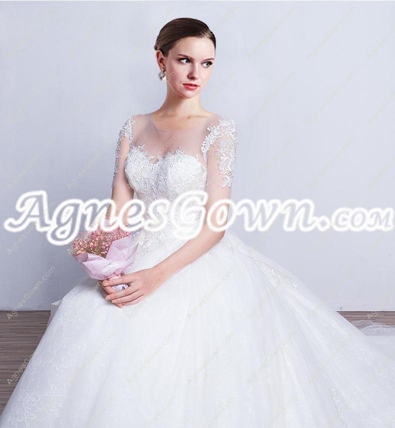 Breathtaking Scoop Neckline Ball Gown Lace Wedding Dress Corset Back