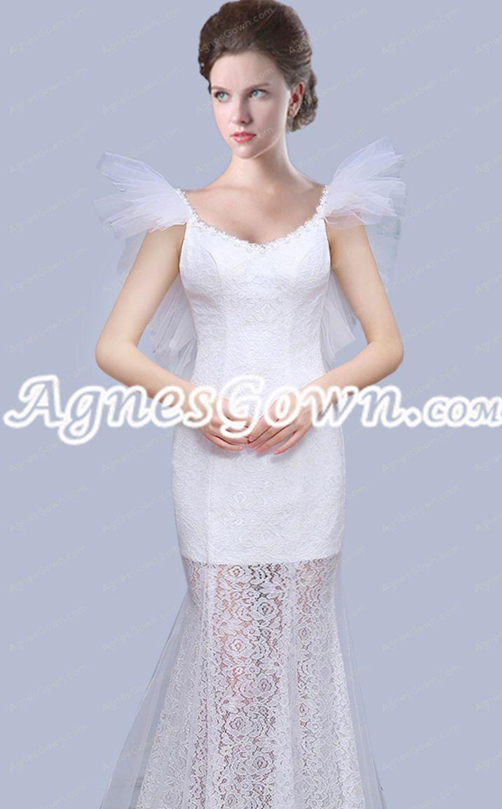 Chic Scoop Neckline Sheath Sheer Lace Beach Wedding Dress