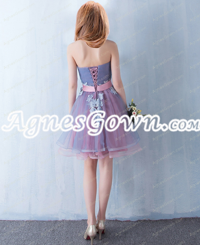 Cute Blue And Pink Organza Sweet 16 Dress