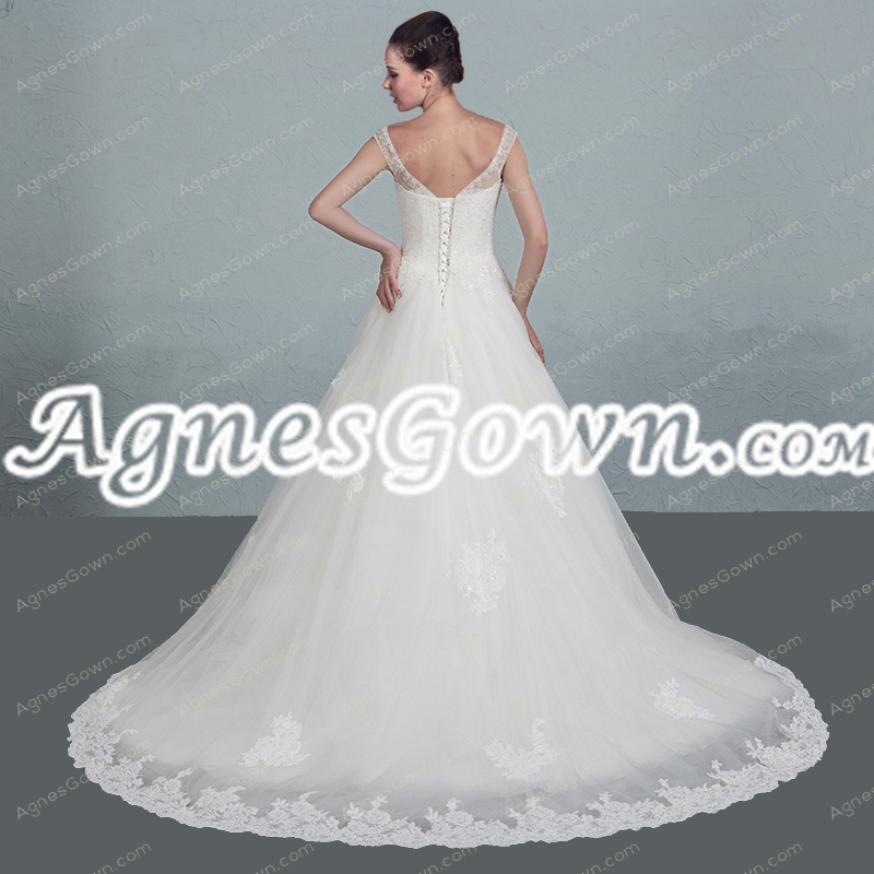 Ivory Straps Princess Wedding Dress With Lace
