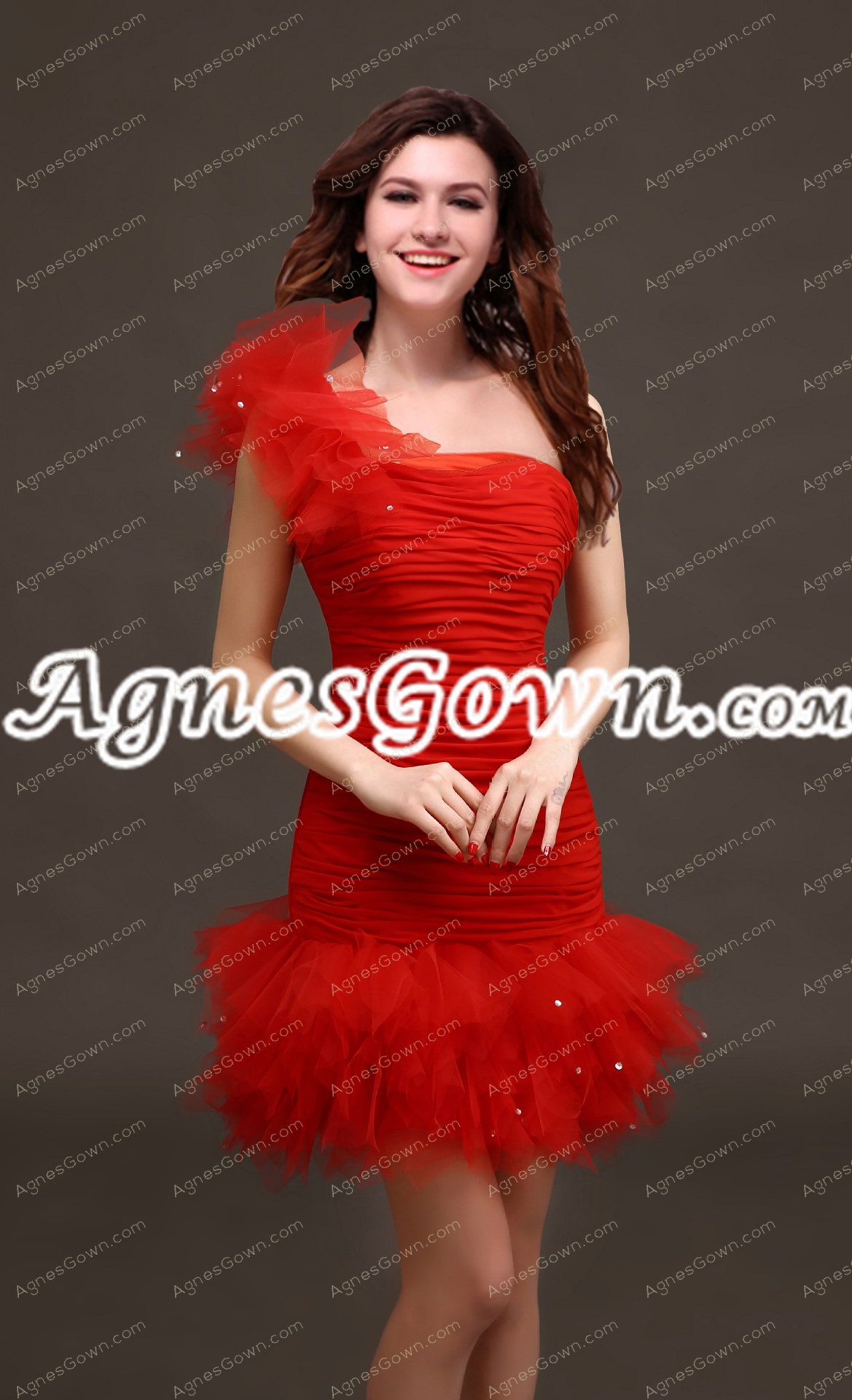 Modern One Shoulder Red Organza Cocktail Dress