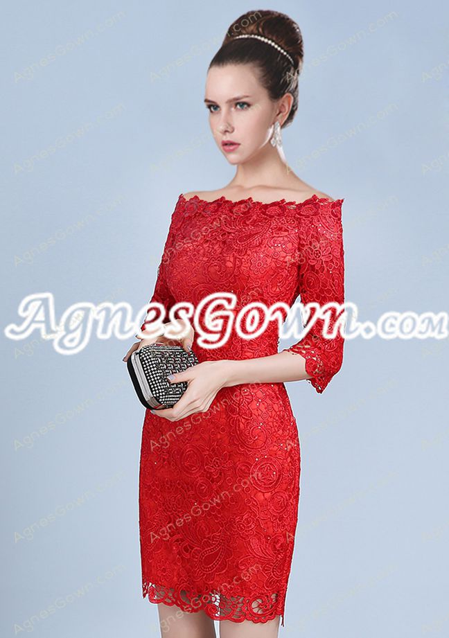Off Shoulder Bateau Neckline 3/4 Sleeves Red Lace Wedding Guest Dress