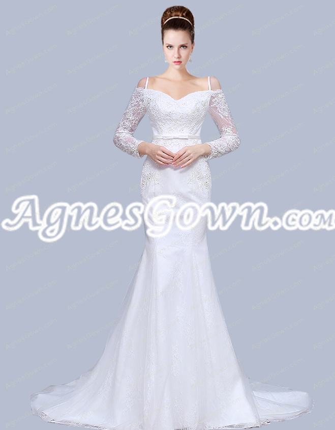 Off Shoulder Long Sleeves Spaghetti Straps Mermaid Lace Wedding Gown