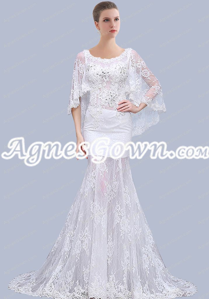 Scoop Neckline 3/4 Sleeves Mermaid Lace Wedding Dress