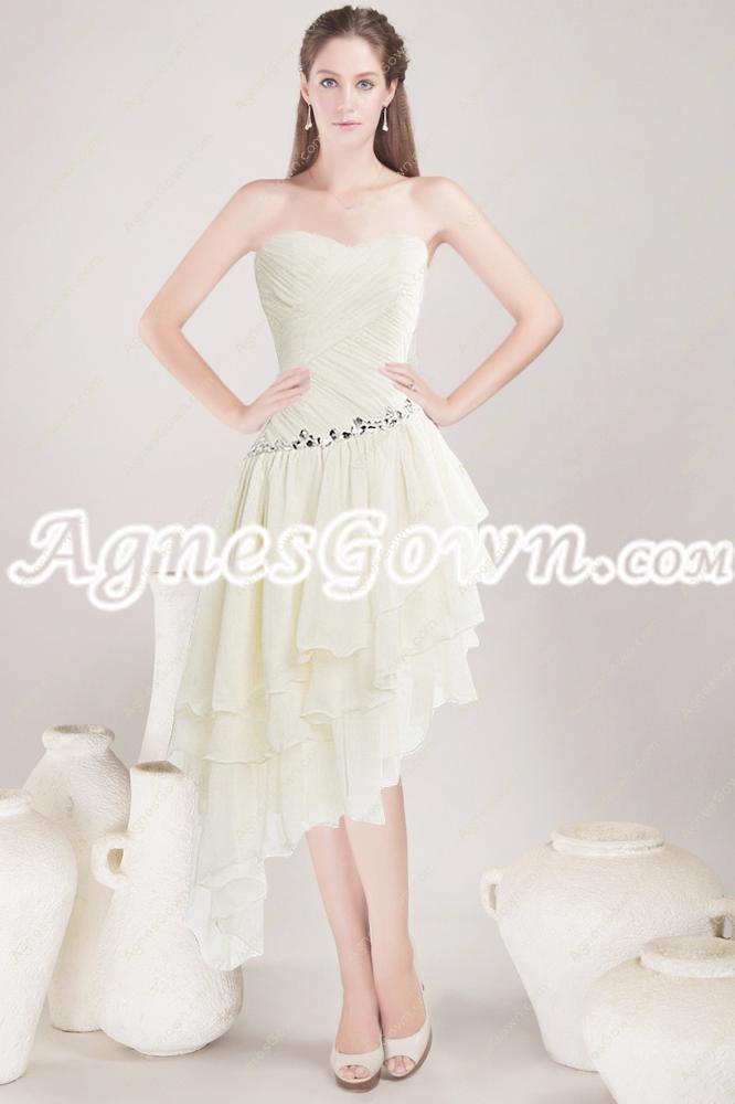 Special Asymmetrical Waist High Low Prom Dress