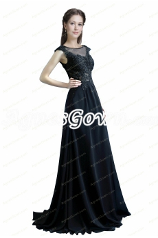 A-line Dark Navy Cap Sleeves Chiffon Mother Dress With Lace