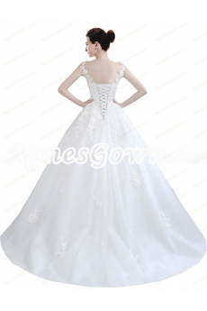 Boat Neckline Corset Back Ball Gown Wedding Dress With Lace Appliques