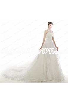 Charming Halter Ivory Princess Wedding Dress Chapel Train