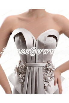 Charming Sheath Floor Length Silver Grey Formal Evening Dress