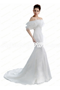 Glamour Off Shoulder Trumpet/Mermaid Wedding Dress With Lace