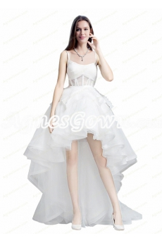 Modern Spaghetti Straps High Low Organza Beach Wedding Dresses