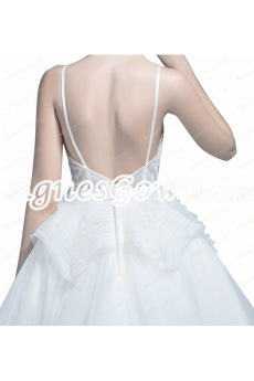 Modern Spaghetti Straps High Low Organza Beach Wedding Dresses