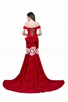 Off Shoulder Red Elastic Satin Mermaid Evening Dress With Beads