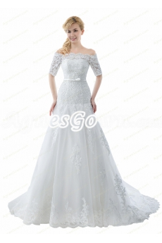 Off Shoulder Short Sleeves Lace Wedding Dress