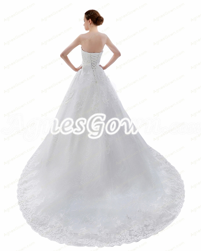2017 Princess Lace Wedding Dress Corset Back