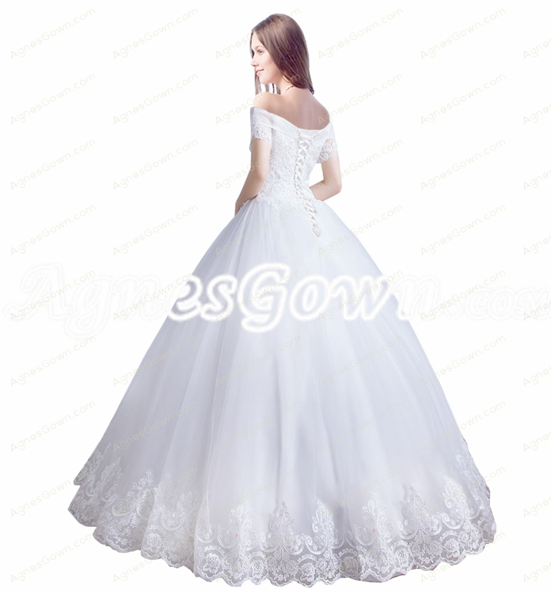 Charming Off Shoulder Princess Lace Wedding Dress