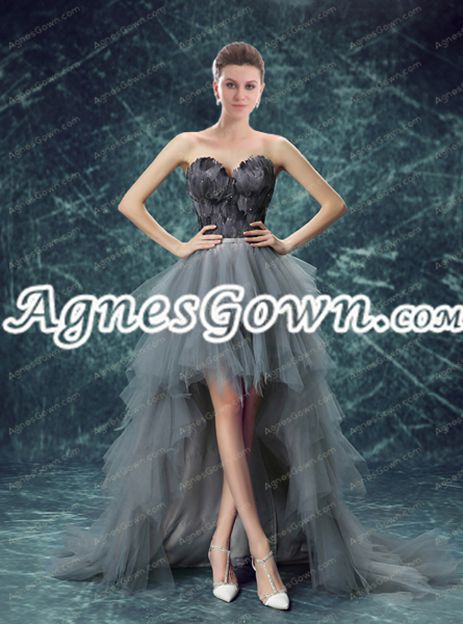 Gothic Black And Grey High Low Sweet 16 Dress With Fur