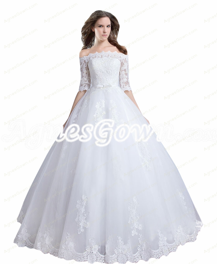 Off Shoulder Half Sleeves Lace Ball Gown Wedding Dress