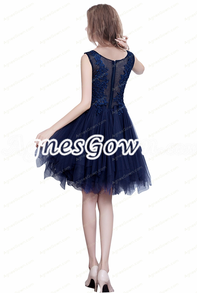 Scoop Neckline Dark Navy Short Prom Dress With Lace Appliques