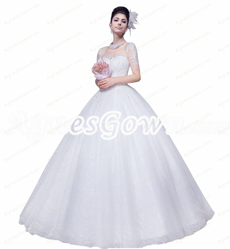 Short Sleeves Scoop Neckline Lace Ball Gown Wedding Dress