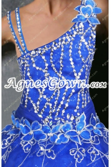 Asymmetrical Shoulder Royal Blue Organza Sweet 15 Dress With Beads