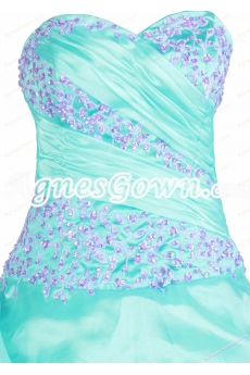 95be6860a0 ... Beautiful Aqua Organza Ball Gown Quinceanera Dress With Lilac Handwork