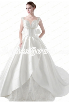 Breathtaking Big Train Straps Satin Wedding Dress With Pearls