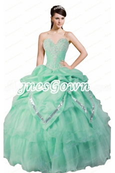 Charming Mint Green Organza Ball Gown Sweet 15 Dress