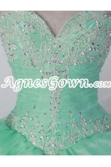 Charming Mint Green Organza Ball Gown Sweet 15 Dress