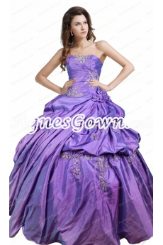 Classy Strapless Corset Back Lavender Taffeta Quinceanera Dress