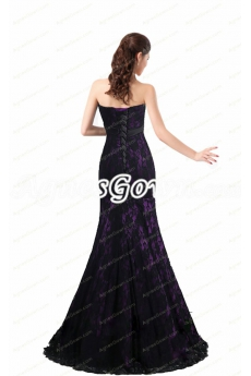 Corset Back Black And Purple Mermaid Lace Mother Of The Bride Dress