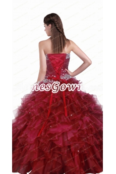 Corset Back Dark Red Organza Sweet 15 Dress With Rhinestones