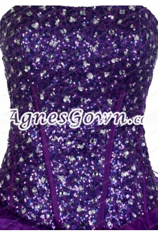 Dropped Waist Corset Back Sparkled Purple Quinceanera Dress